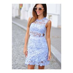 SheIn(sheinside) Blue Side Hollow Lace A-Line Dress ($40) ❤ liked on Polyvore featuring dresses, blue, blue cocktail dresses, short sleeve cocktail dresses, party dresses, blue party dress and short blue dresses