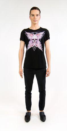 MILA FARGO | ANGEL FEATHER SKULL BLACK | ECOLUXE SS16/17 MENSWEAR