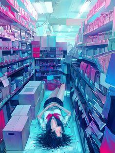 Black_hair closed_eyes drugged drugs fluorescent_lamp lying messy_room on_back original pill school_uniform serafuku shop sleeping zain in Lifestyle