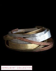 Metallurgy Stacking Cuffs - Love this bracelet. Jewelry Art, Jewelry Accessories, Fashion Accessories, Jewelry Design, Rustic Jewelry, Metal Jewelry, Bling, Jewelry Bracelets, Jewlery