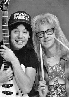 "Mike Meyers and Dana Carvey in ""Wayne's World"". Funny Comedy Movies, Film Movie, Best Of Snl, Best Tv, Waynes World Costume, Tank Girl Cosplay, Dana Carvey, Party On Garth, Duo Costumes"