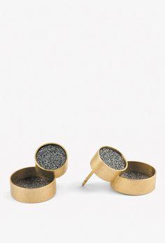 Ohrstecker aus der Schmuckkollektion <em>Sternenstaub</em>. Gold 750, Siliziumcarbit