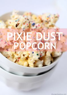 To make pixie dust popcorn, just cook popcorn as usual, melt white chocolate, drizzle it over the popcorn and then top it all with sprinkles!