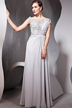 Fashion Ball Grey Cocktail Prom Chiffon Strap Beading Formal Long Evening Dress