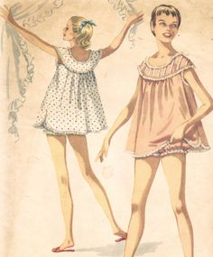 Vintage  Sewing Pattern  Shortie Nightgown and Bloomers I remember this pattern. I made these pj. They were called baby dolls.