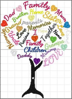 Family Tree words, Machine Embroidery design