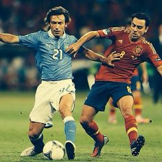 Andrea Pirlo and Xavi Italy vs Spain Legends
