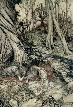 View Hermia and Helena from A Midsummer Nights Dream by Arthur Rackham on artnet. Browse upcoming and past auction lots by Arthur Rackham. Arthur Rackham, Edmund Dulac, Harry Clarke, Dream Images, Classic Fairy Tales, Ecole Art, William Blake, Midsummer Nights Dream, Children's Book Illustration