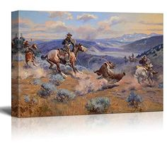 Wall26  Loops and Swift Horses Are Surer than Lead by Charles Marion Russell  Canvas Print Wall Art Famous Painting Reproduction  24 x 36 -- Check out the image by visiting the link.Note:It is affiliate link to Amazon.