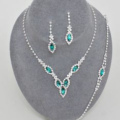 Teal diamante necklace bracelet and earring set available in other colours from WWW.GlitzyGlamour.co.uk
