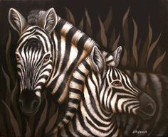 Zebra Painted Canvas by Jillybean Fitzherny
