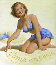 Making new friends at the beach. #vintage #pinup #girl #art #beach #summer