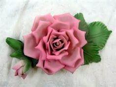 Capodimonte Rose Figurine Porcelain Flower Italy/italian Vintage used ...