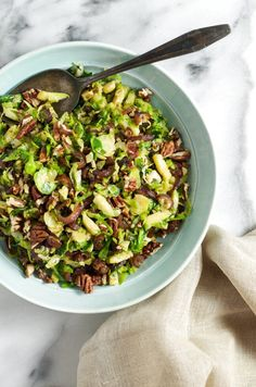Sauteed Shredded Brussel Sprouts with Caramelized Onions and Dates from www.sprinkledsideup.com