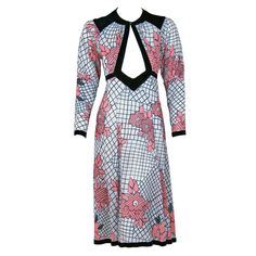1970's Vintage Ossie Clark Couture Rare Cut-Out Celia Birtwell Print Dress NOW LISTED