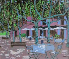 Dappled light in the square by Mike Hall from Bell Fine Art, Winchester, Hampshire, UK