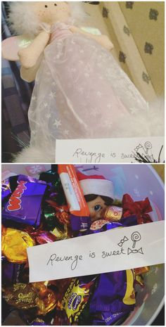 Elf On The Shelf | 2016 | We couldn't find Loki this morning. We did, however, find a note from our Christmas tree fairy, saying 'revenge is sweet'. For the past two years, Loki has kidnapped our poor fairy - but it was payback time! We found Loki buried in a tub of chocolates! #OurElfOnTheShelf