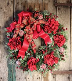 Rustic Christmas Pine Front Door Wreath, Large Red Hydrangea Holiday Wreath, Christmas Decor, Farmhouse Wreath, Winter Pine Wreath, Gift