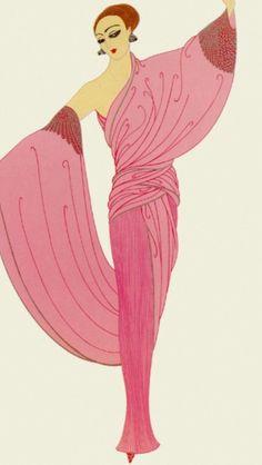 """Erte#Design#Art Deco titled  ""In The Evening"""
