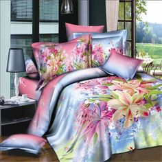 simulation Flower Quilt/Duvet Cover Flat Sheet Twin Full Queen King Bed Linen Pillowcases Bedding Set Home bed linings 3d Bedding, Green Bedding, Floral Bedding, Comforter Sets, Luxury Bedding, Bedroom Comforters, Colorful Bedding, Cotton Bedding, Cotton Fabric