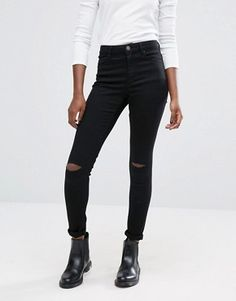 25d5481cdcb ASOS Ridley Skinny Jeans In Clean Black With Displaced Ripped Knees Rippet  Skinny Jeans