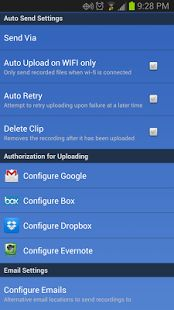 Total Recall android call recorder application, This application facilitates you with an option of auto upload which allows you to mechanically upload files on server, including Google drive, Dropbox, Gmail inbox, Evernote and sound cloud.