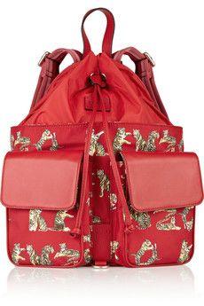Leather-trimmed tiger-print nylon backpack ($480.00) - Svpply