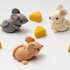 Little fondant mice and cheeses just listed today!