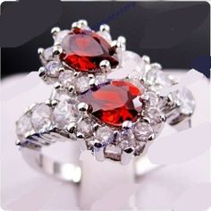 awesome double ruby 10KT white Gold Filled Ring sz8. Starting at $11 on Tophatter.com!