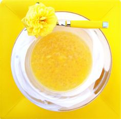 tapioca and mango goodness made with almond milk