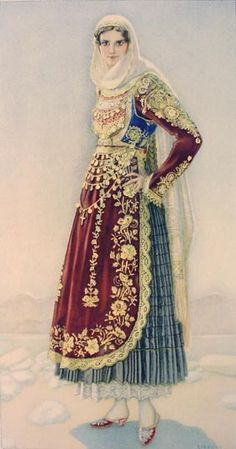 LAS SPERLING Bridal Dress (Salamis) 1930 lithograph on paper after original watercolour Greek Traditional Dress, Traditional Outfits, Historical Costume, Historical Clothing, Ancient Greek Costumes, Greek Dress, Greek Culture, Costume Collection, Folk Costume