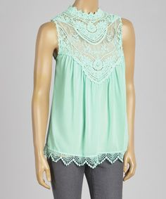 Take a look at the Red Clover Mint Sheer Lace Sleeveless Top on #zulily today!