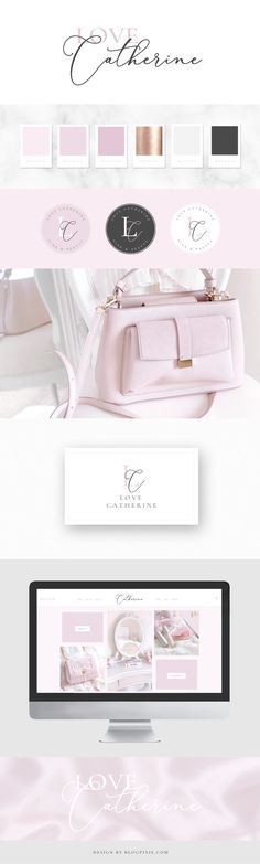 Brand Identity - Love Catherine - A beauty, lifestyle and fashion blog featuring all things pink and pretty. Feminine branding and design created at Blog Pixie.