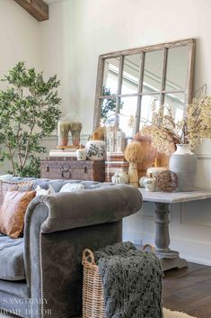 I'm bringing you 4 simple fall decorating ideas for any room, that will elevate your seasonal decor and make your home beautiful. Fall Living Room, Living Room Sofa, Living Room Decor, Living Rooms, Fall Fireplace, Family Room Fireplace, Fall Home Decor, Autumn Home, Early Autumn