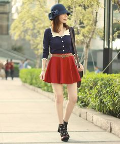 It's the *idea* of this outfit I like... The navy shirt with the red skirt, and I like the hat, too. But the skirt is too short and the hat/shirt are not the same shade of navy.