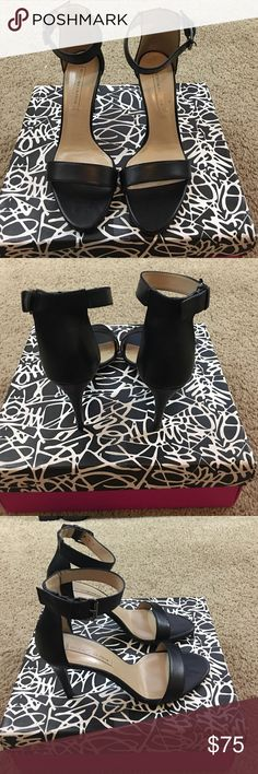 BCBGMAXAZRIA black Alessandra leather day sandal 9 New in box, BCBGMAXAZRIA black Alessandra leather day sandal size 9 BCBGMaxAzria Shoes Sandals