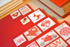 Red Envelope Stationary by EdelweissPost (vintage, unused stamps on envelopes; ready to mail. Genius!)