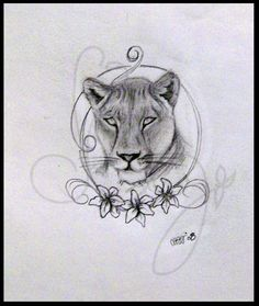Lioness tattoo idea without the flowers and swirls