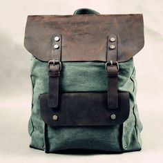 genuine leather canvas retro punk backpack