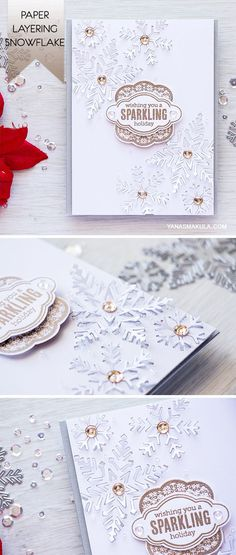 Use Hero Arts Paper Layering Snowflake Dies to create unique one of a kind dimensional backgrounds for your cards. For details, visit http://www.yanasmakula.com/?p=54782