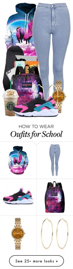 """School...........Again"" by trillqueenlex on Polyvore featuring Topshop, Lipsy, JanSport, Michael Kors, River Island and NIKE"