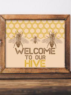 This item is unavailable Bee Nursery, Nursery Art, Honey Logo, Fair Theme, Custom Baby Gifts, Boy Wall Art, Bee Cards, Bee Theme, Save The Bees