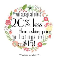Accepting offers 20% less on individual purchases! Now accepting all offers 20% less than asking price on individual purchases! Other
