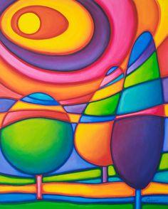 Bright Colorful Original Abstract Painting by OraBirenbaumArt Art Pop, Pastel Art, Silk Painting, Painting Trees, Whimsical Art, Painting Techniques, Rock Art, Art Lessons, Modern Art