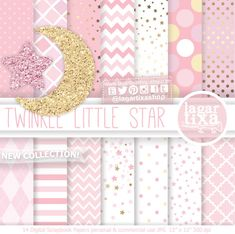 https://www.etsy.com/mx/listing/483659683/papel-digital-fondos-estrellas-rosa #twinkletwinklelittlestar #littlestar #babygirl #itsagirl #babyshower #PinkParty #goldparty