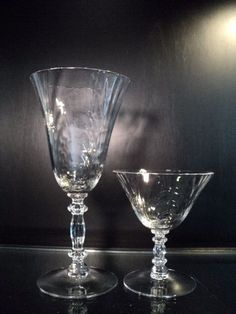 Cambridge Glass CAPRICE Crystal Clear Tall Water and low sherbet  2 pcs #Cambridge
