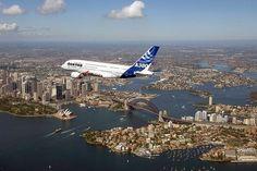 Qantas Airbus A380 flying over Sydney, Australia
