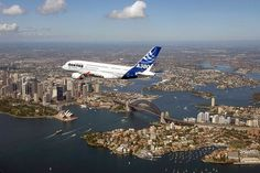 Qantas Airbus A380 flying over Sydney, Australia