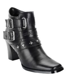 Look at this Harley-Davidson Footwear Black Buckle Bridgit Leather Ankle Boot on #zulily today!