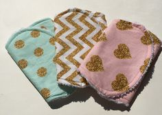 Girl Burp Cloths - Set of 3, modern burp cloths, chevron, polka dot, sparkle, glitter, gold, pink, mint, burp cloth set, burp rag - pinned by pin4etsy.com #babylist @babylist